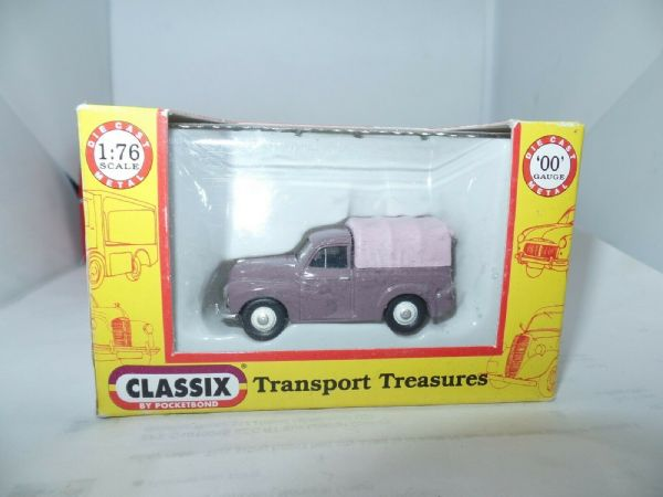 Classix EM76634 1/76 OO Scale Morris Minor 1000 Pick Up Rose Taupe w Pink Cover